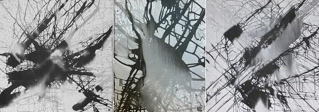 Grands formats 2010 encre de chine sur toile 270 x 100 cm
