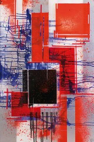 Expulsion 2008 acrylique sur plexi 70 x 100 cm