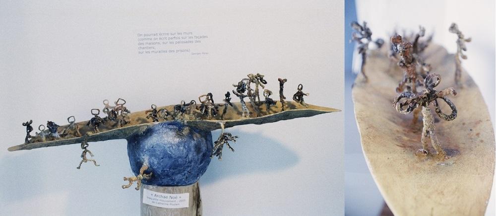 """""""Archa Noé"""" 2005 fil de fer et papier 100 x 40 cm Paris 18e"""