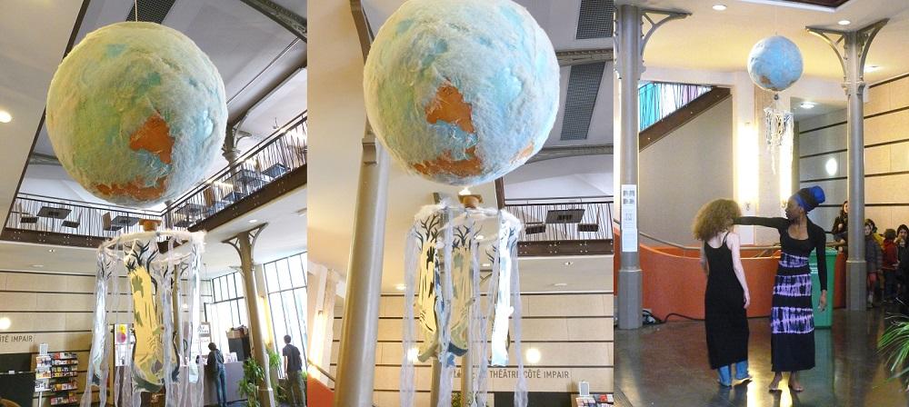 """Installation """"Mappemonde, le monde à l'envers"""" à la Maison des Métallos, Paris 11e 2012"""