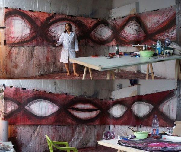 KTY à l'atelier - Des visages apparaissent sur 6 M x 2 M