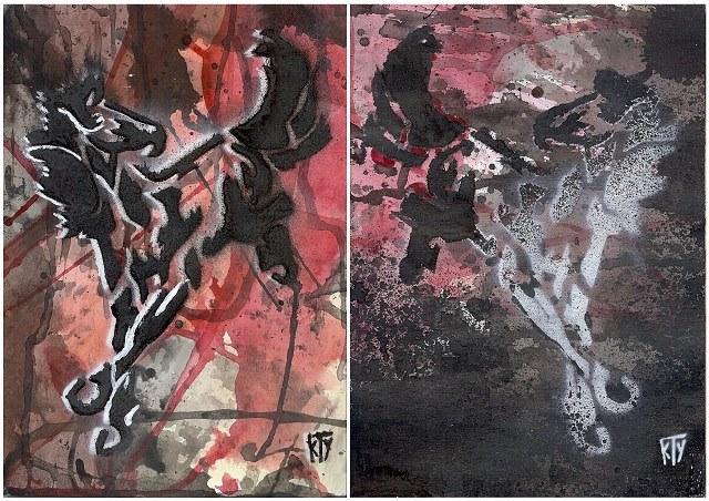 """""""Mustang"""" 2015 acrylique sur papier marouflé sur toile 2 ex 16 x 22 cm"""